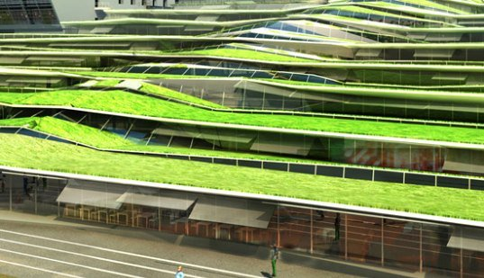 Green roofs of Jean Moulin High School in Revin, France
