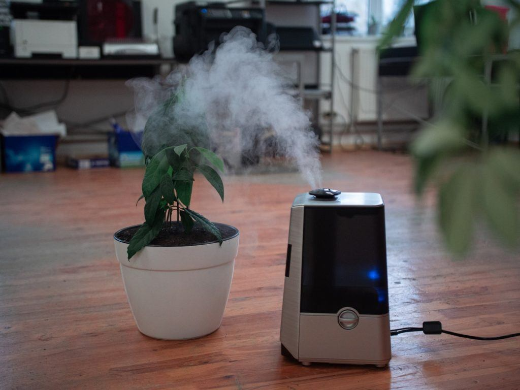 Air purifier on the floor